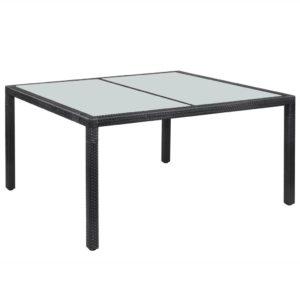 vidaXL Stół ogrodowy, czarny, 150x90x75 cm, rattan PE