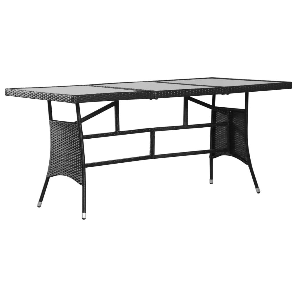 vidaXL Stół ogrodowy, czarny, 170x80x74 cm, polirattan