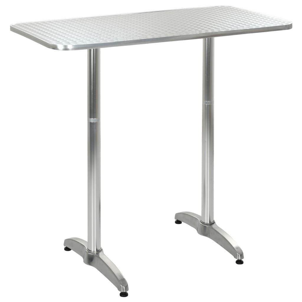 vidaXL Stół ogrodowy, srebrny, 120x60x(70-110) cm, aluminiowy