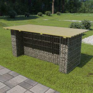 vidaXL Stół ogrodowy ze stalowym gabionem, 180x90x74 cm, drewno FSC