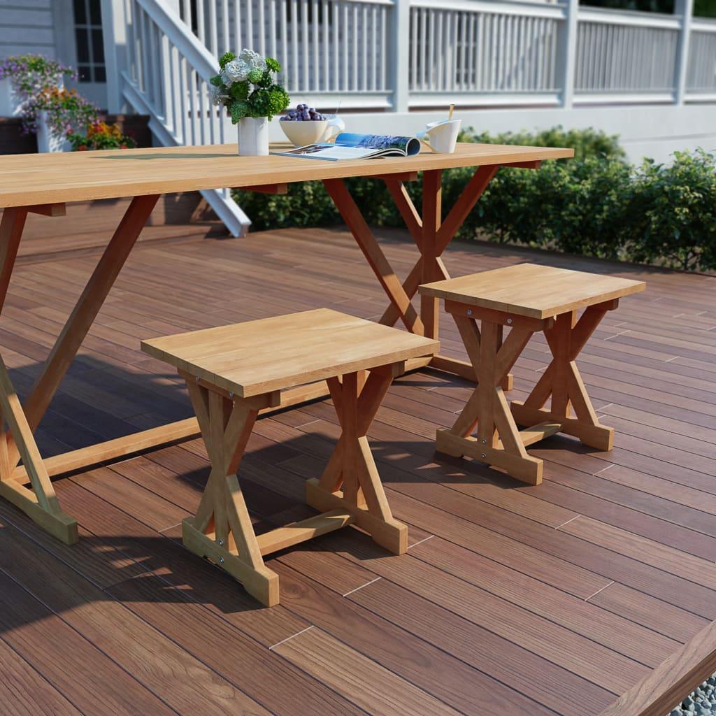 vidaXL Stołki ogrodowe, 2 szt., 42x35x45 cm, lite drewno tekowe