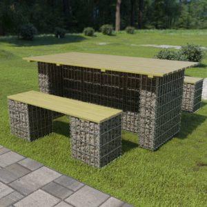 vidaXL Zestaw mebli gabionowych, 3 części, stal i drewno sosnowe (FSC)
