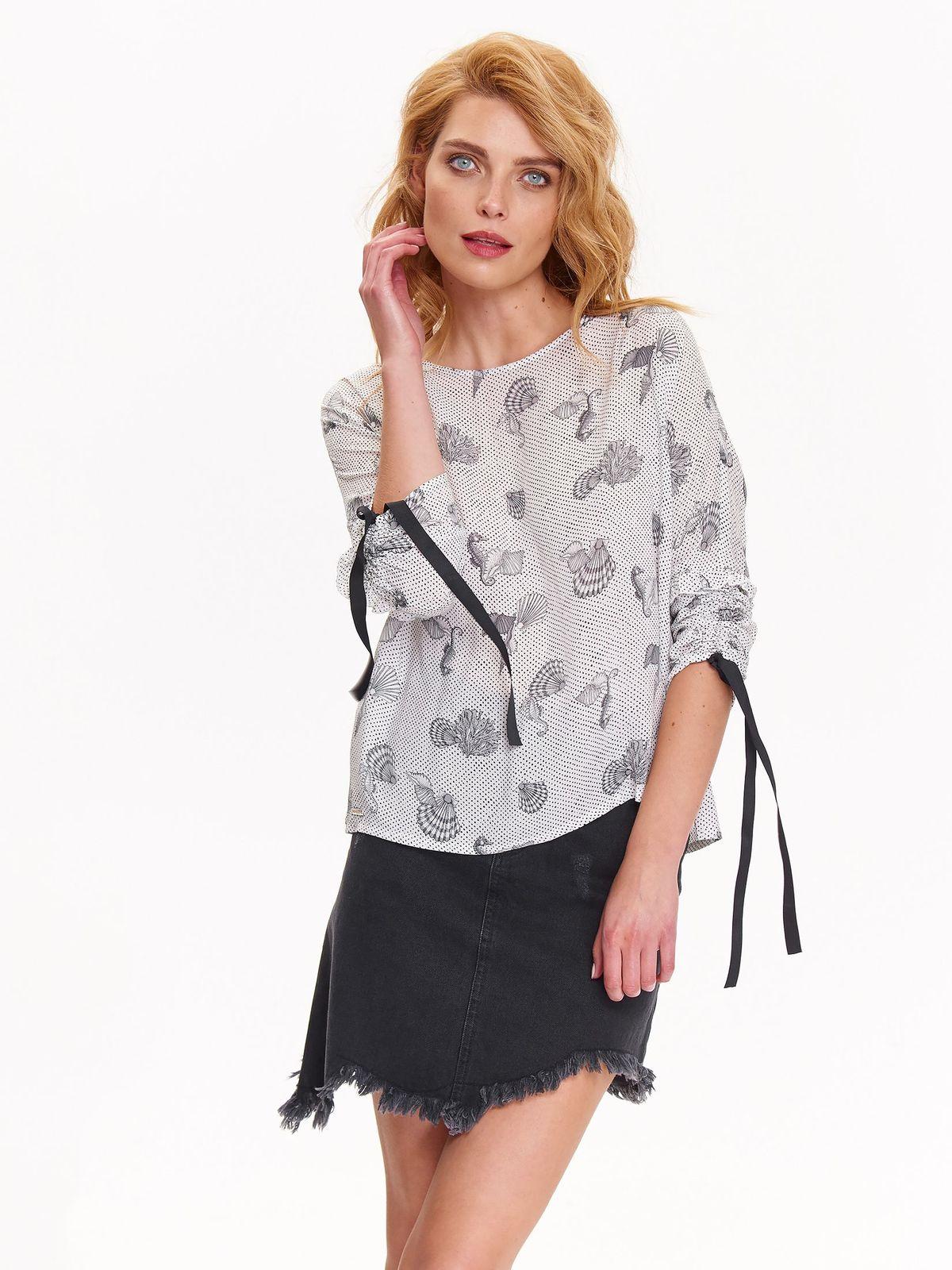 Bluzka damska w nowoczesny druk z wiązaniem przy rękawach
